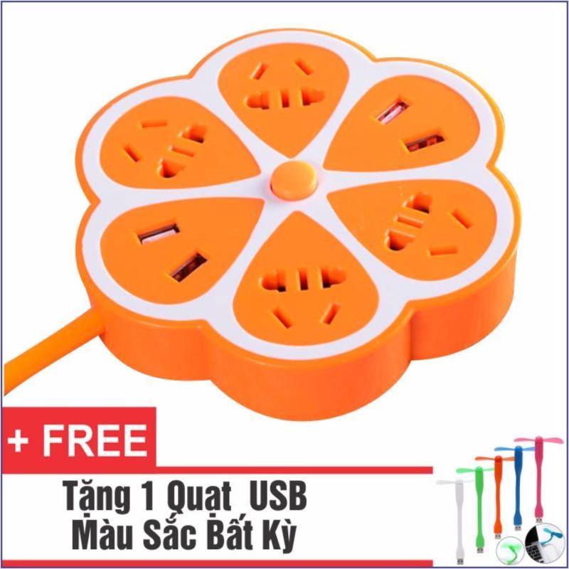 Bảng giá Ổ Cắm Điện Đa Năng Có 4 Cổng USB (Cam) + Tặng 1 Quạt USB Siêu Tiện Dung