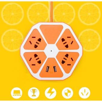 Ổ cắm điện đa năng lục giác có cổng USB (Cam)