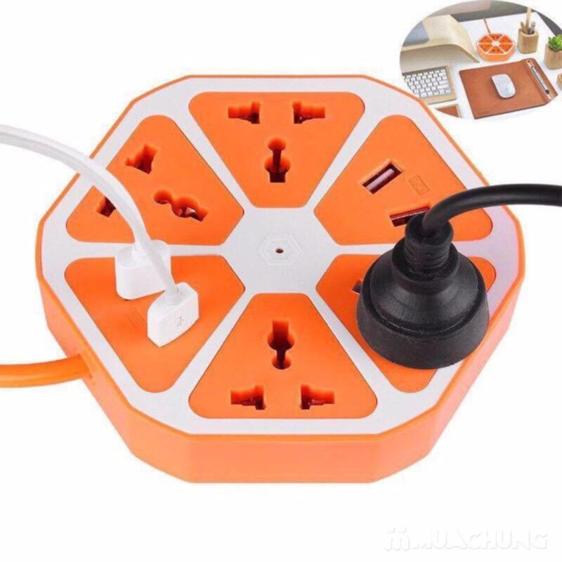 Bảng giá Mua Ổ cắm điện lục giác USB đa năng hình lát cam (màu cam)