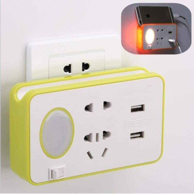 Bảng giá Ổ cắm điện thông minh 2 ổ cắm và 2 ổ cắm sạc USB kiêm đèn ngủ LED chống sét cao cấp (xanh)