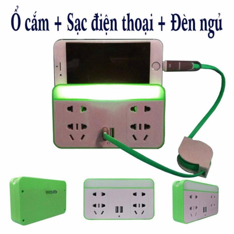 Bảng giá Ổ cắm kiêm sạc điện thoại và đèn ngủ cảm biến thông minh (Xanh)