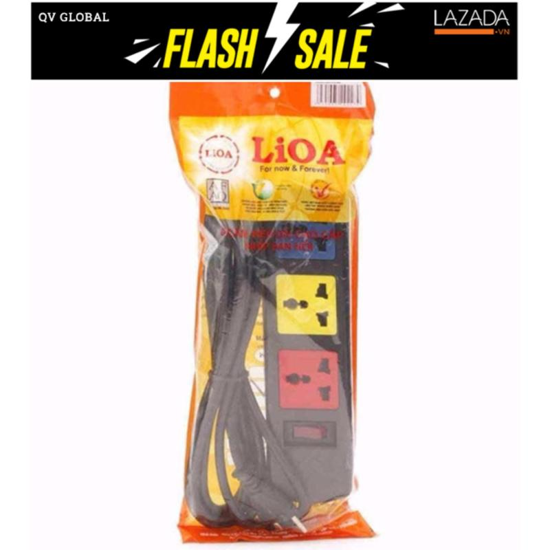 Bảng giá Mua Ổ cắm LIOA 3 ổ cắm đa năng có nắp che bảo vệ 3D32N (Đen) 3 M