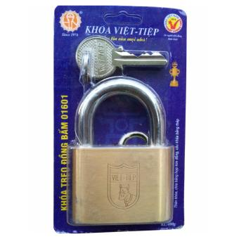 Ổ khóa treo đồng bấm Việt tiệp 01601 ( cỡ lớn- 6cm)