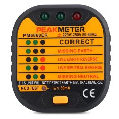 PEAKMETER PM6860ER Automatic Electric 220V - 250V UK Plug Socket Tester (Black) - intl