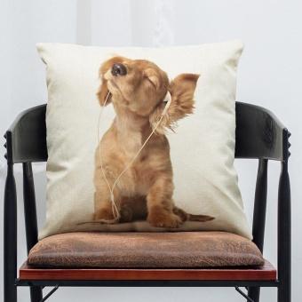 Pet Dog Animal Cotton Linen Throw Pillow Case Cushion Cover Home Decor A - intl