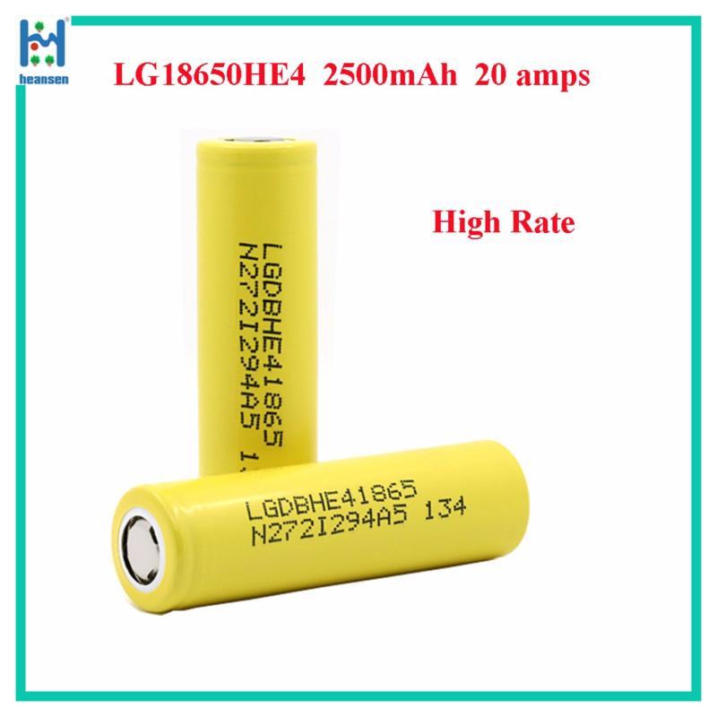 Pin sạc LG (màu vàng) - ICR18650HE4 Lion - 3.7V - 2.500 mAh - 20A (dòng xả cao VAPE)