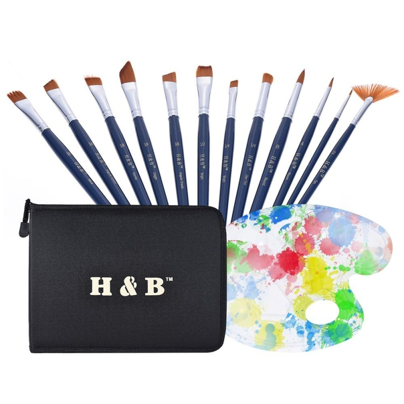 Mua Professional Artist Paint Brush Kit Including 12pcs Nylon Hair Short Handle Watercolor Acrylic Gouache Oil Painting Brushes with Color Palette Zippered Bag - intl