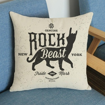 Rock Style Letters Linen Cushion Cover Throw Waist Pillow Case Sofa Home Decor C - intl