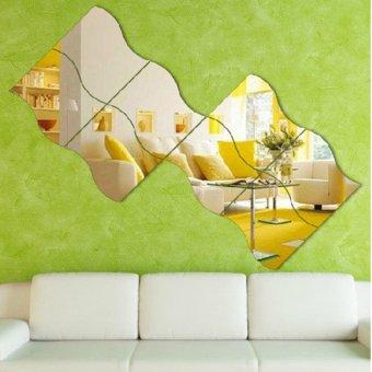 Silver 6 Pcs Modern Wave Design Stereoscopic Mirror Style Wall Sticker - intl