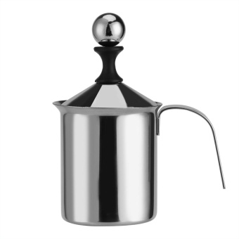 Stainless Steel Manual Milk Frother Double Mesh Coffee Foamer Creamer 400ML - intl