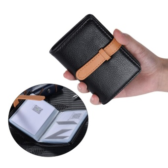 Stylish Synthetic PU Leather Business Bank ID Name Credit Card Holder Case Bag Wallet with 26 Card slots Black - intl