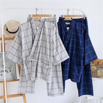 Summer Japanese Style Striped Kimono Yukata Mens Cotton Bathrobecomfortable nightclothes (Size: L) - intl