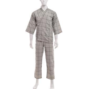 Summer Japanese Style Striped Kimono Yukata Mens Cotton BathrobeHaori (Size: L) - intl