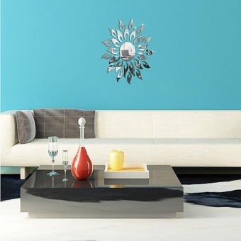 Sun Mirror Design Acrylic Silver Wall Sticker Frame Luxury HomeDecoration - intl