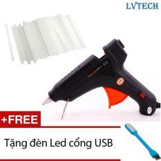 Súng bắn keo silicon LVTech 60W (Xanh) + 10 thanh keo silicon + Tặng 1 đèn Led cổng USB
