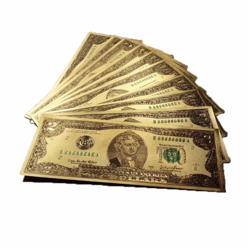 (Tặng 5 Lì Xì)Combo 10 Tờ Tiền Đô Mạ Vàng(5 tờ 2USD+ 5 tờ 100USD)