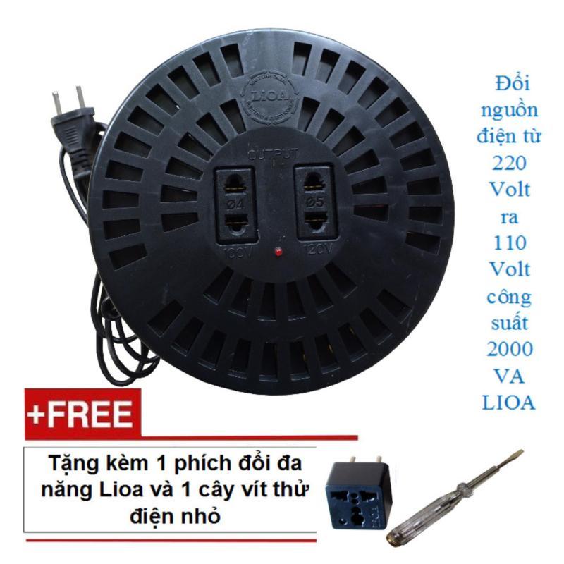 Thiết bị đổi nguồn điện từ 220 volt ra 110 volt 2000 VA LIOA kèm phích đổi và vít thử điện