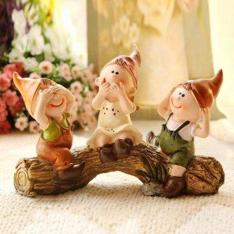 Three Dolls Sitting On The Tree Display Pastoral Home Decor Display - intl