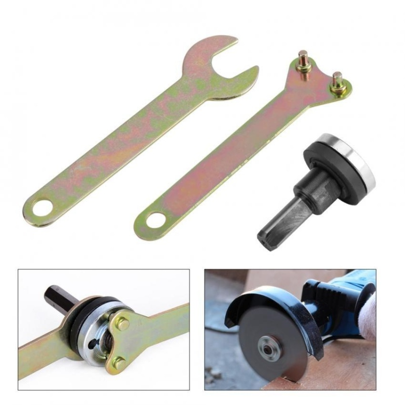 TMISHION Electric Angle Grinder Flange Locking Inner & Outer Nuts with Wrench Spanner Set (6mm Handle) - intl