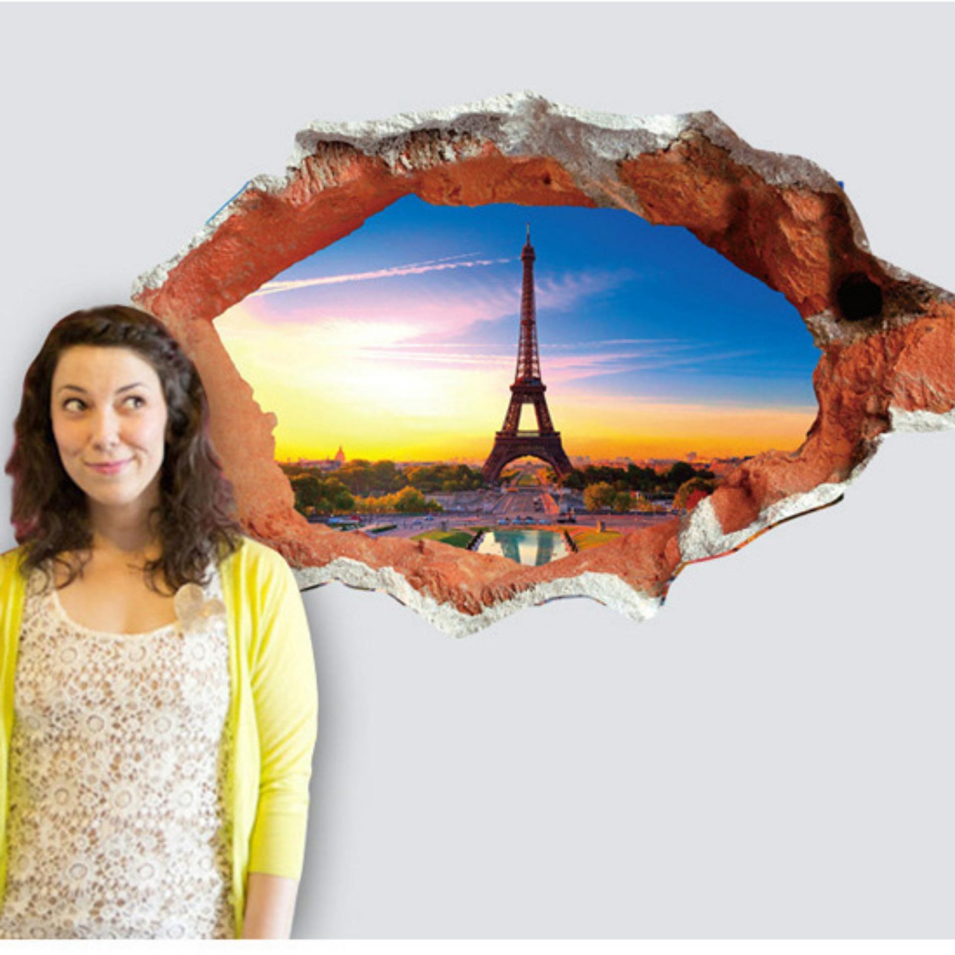 Tranh Decal Dán Tường 3d Phong Cảnh Eiffel SPK049