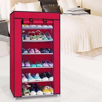 Tủ giày dép 7 tầng 6 ngăn bọc vải cao cấp (Đỏ đô)