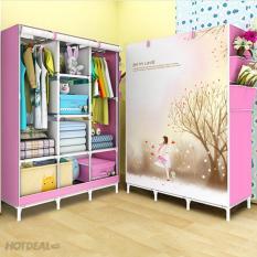 Giá Niêm Yết Tủ Vải 3D 3 Buồng 8 Ngăn Khung Inox Bền Đẹp(hồng)