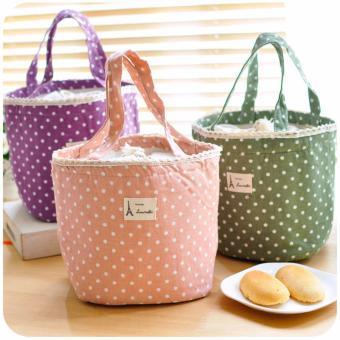 Túi đựng hộp cơm tròn An Store màu Xanh V2