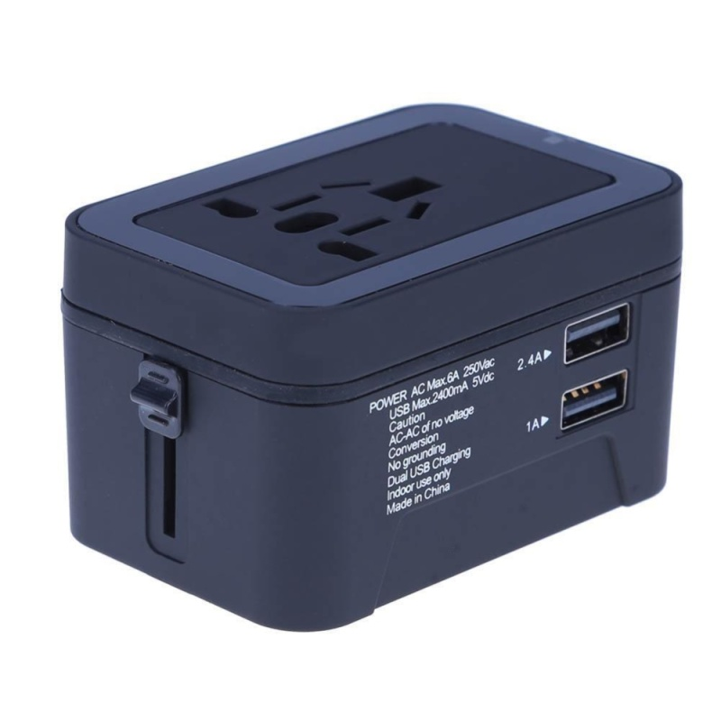 Bảng giá Universal Travel Adapter Power Charger Plug Converter Dual USB(Black) - intl