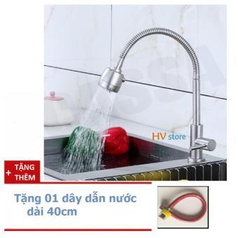 Vòi rửa chén cắm chậu cần mềm, inox 304, tặng thêm 1 dây dẫn nước
