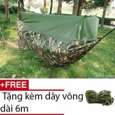 Võng dù vải bộ đội có Mùng (Xanh bộ đội) + Tặng kèm dây võng 6 mét