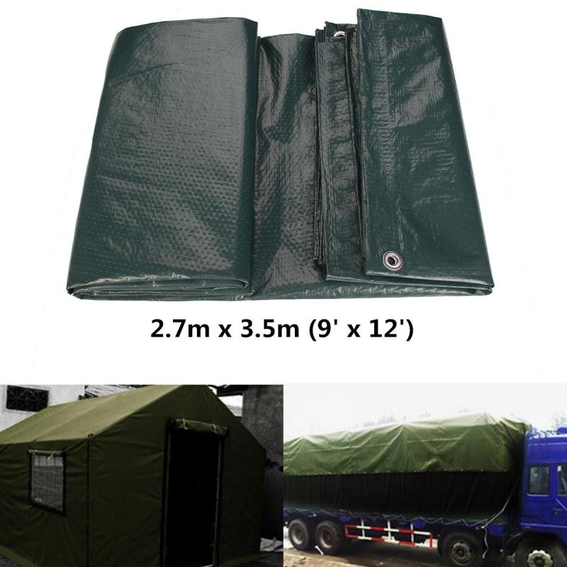 Waterproof Tarpaulin Ground Sheet Camping Cover Lightweight Dark Green 2.7m x 3.5m - intl