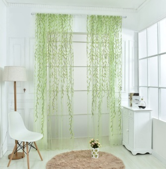 Wicker Offset Printed Curtain of Muslin Cool Window Pastoral Floral Curtains for Window Living Room - Green - intl
