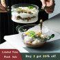 Tô Banfang 2 Tay Cầm, Bát Đựng Salad Hoa Quả Làm Từ Kính Chống Nhiệt Bát Đựng Cháo Bột Yến Mạch Bát Lớn Ăn Sáng Bát Đựng Kem