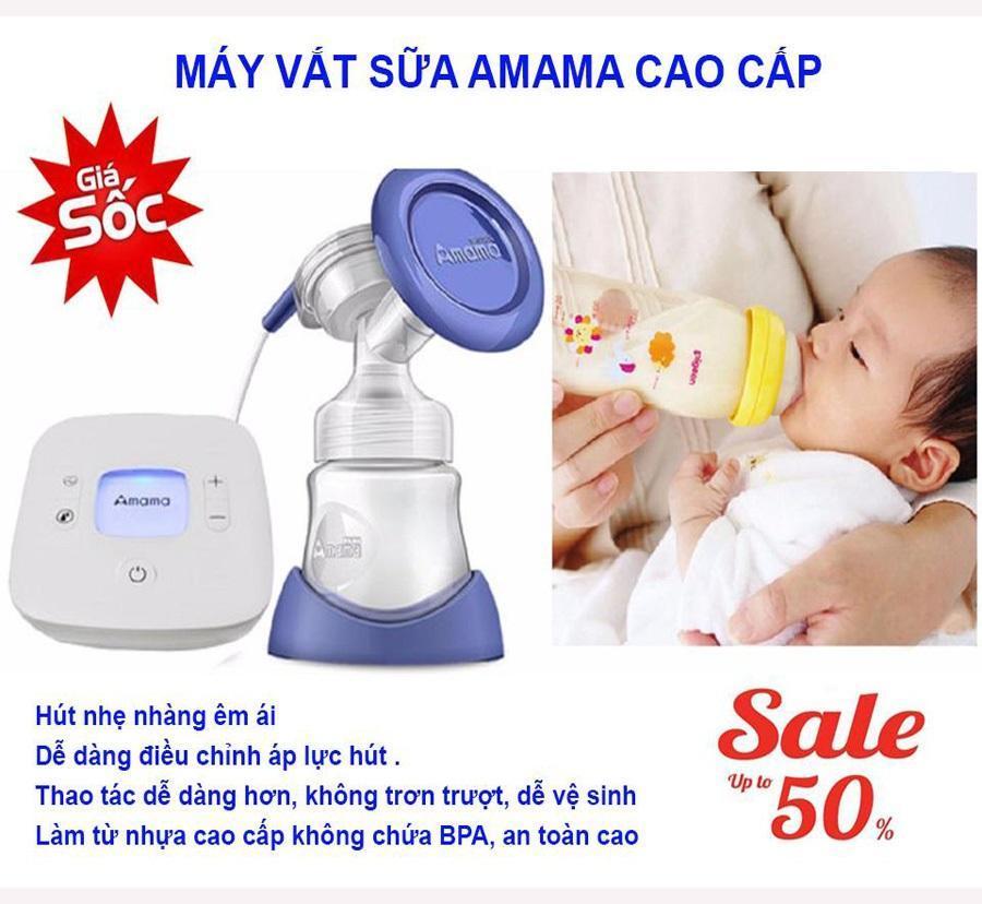 Máy hút sữa mẹ Amama-Thiết kế cho sữa chảy trực tiếp từ phễu silicon vào bình sữa-giảm cơn đau tức ngực do đầy sữa-An toàn cho mẹ và bé-,sản phẩm không thể thiếu đối với mẹ thông thái sale sốc 50%, giao hàng toàn quốc tại May Store 1