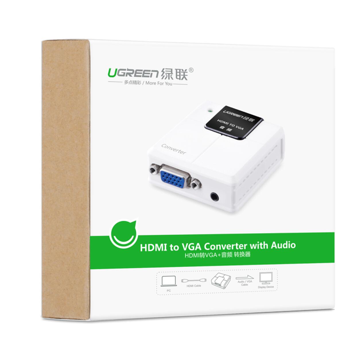 Bộ chuyển đổi tín hiệu HDMI sang VGA hỗ trợ cổng âm thanh Audio UGREEN 40209