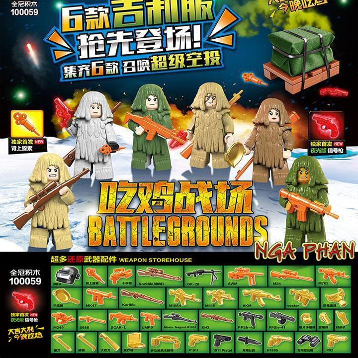 Bộ 6 Nhân Vật Game PUBG Kèm Áo Ẩn Thân Và 1 Hòm Thính Lego Quan Guan Đồ Chơi Xếp Hình Lắp Ráp