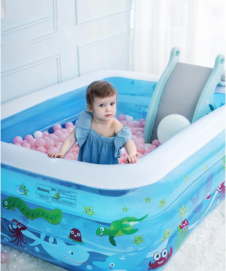 Bể bơi bơm hơi cỡ lớn tặng kèm bơm 1M3,1M5,1M8,2M1 - Thành cao chất liệu nhựa dày dặn đàn hồi tốt , Thiết kế 3 tầng chịu lực tốt , Dễ dàng gấp gọn khi không sử dụng - Bể boi gia đình - Bể bơi phao 3 tầng thumbnail