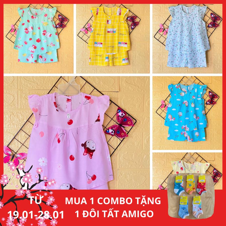 Combo 3 bộ quần áo bé gái - Đồ bộ cho bé gái Cánh Tiên vải Tole, lanh 2 da cao cấp (loại 1), size 1 đến 14 cho bé 5 đến 38kg, hàng Việt Nam chất lượng cao