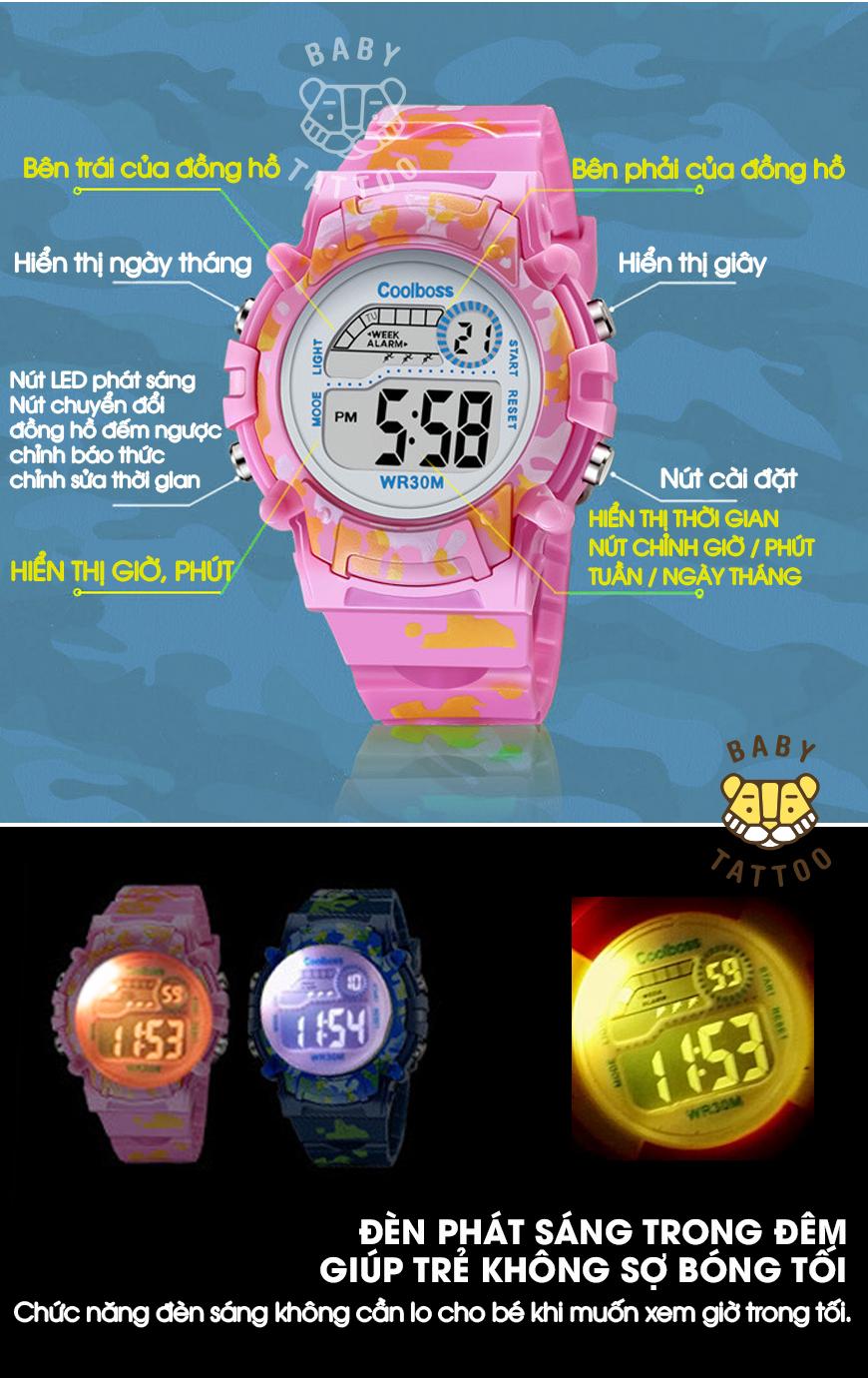 [MIỄN PHÍ GIAO HÀNG] Đồng hồ trẻ em đa chức năng kết hợp hiệu ứng đèn Led chính hãng Coobos, chống trầy xước, chống nước tốt, bảo hành 2 năm 7