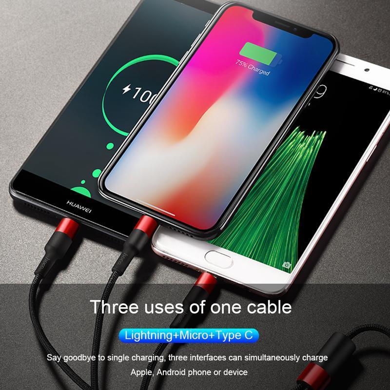 Cáp sạc và truyền dữ liệu đa năng hãng Hoco( X26) 3 đầu Lightning - MicroUSB - Type-C dài 100cm sạc 3 thiết bị cùng một lúc ( tặng kèm dây cuốn sạc, tai nghe)