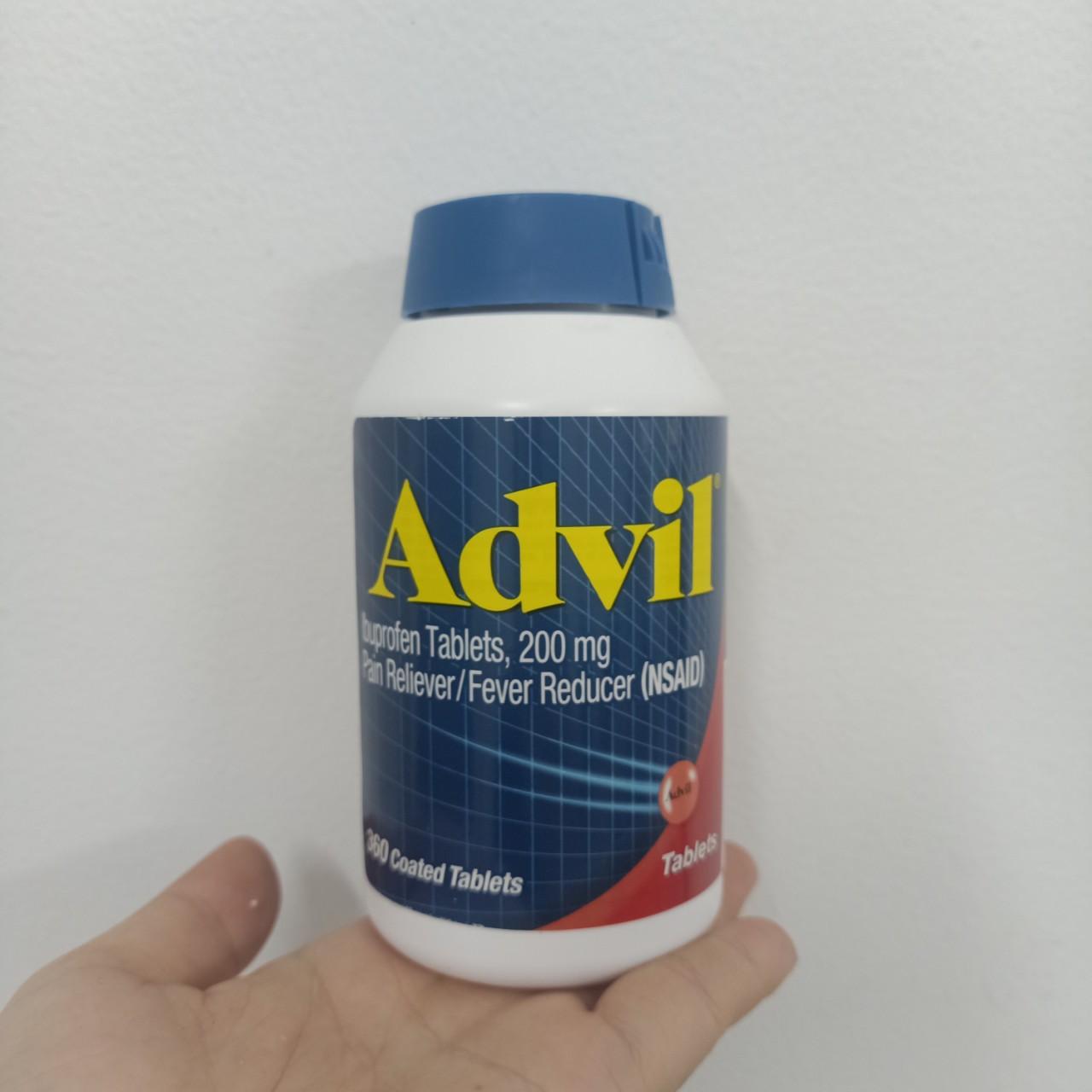 Viên Uống Advil Ibuprofen Tablest 200mg của mỹ hộp 360 viên