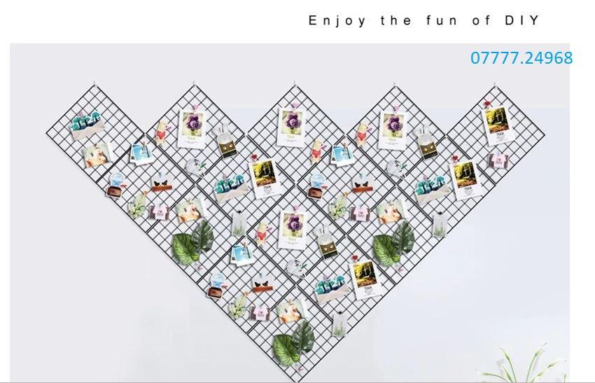 Bộ 15 khung hình lưới sắt nghệ thuật 35*35 cm tặng 30 móc dán tường