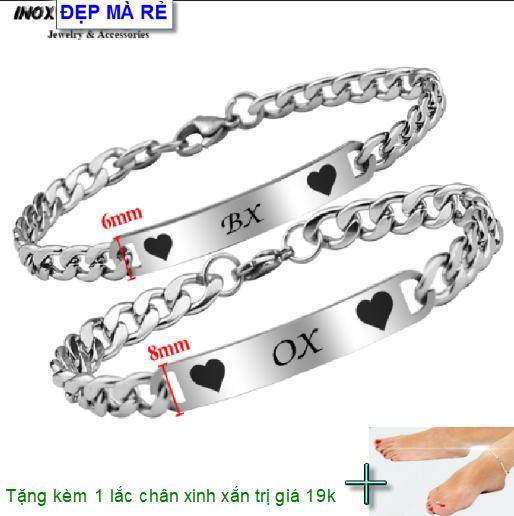 ( Tặng 01 lắc chân ) Lắc tay cặp đôi inox Đẹp Mà Rẻ khắc chữ Y BX / OX Y ( 2 Lắc Nam Nữ như hình ) - VTLT00012T035099