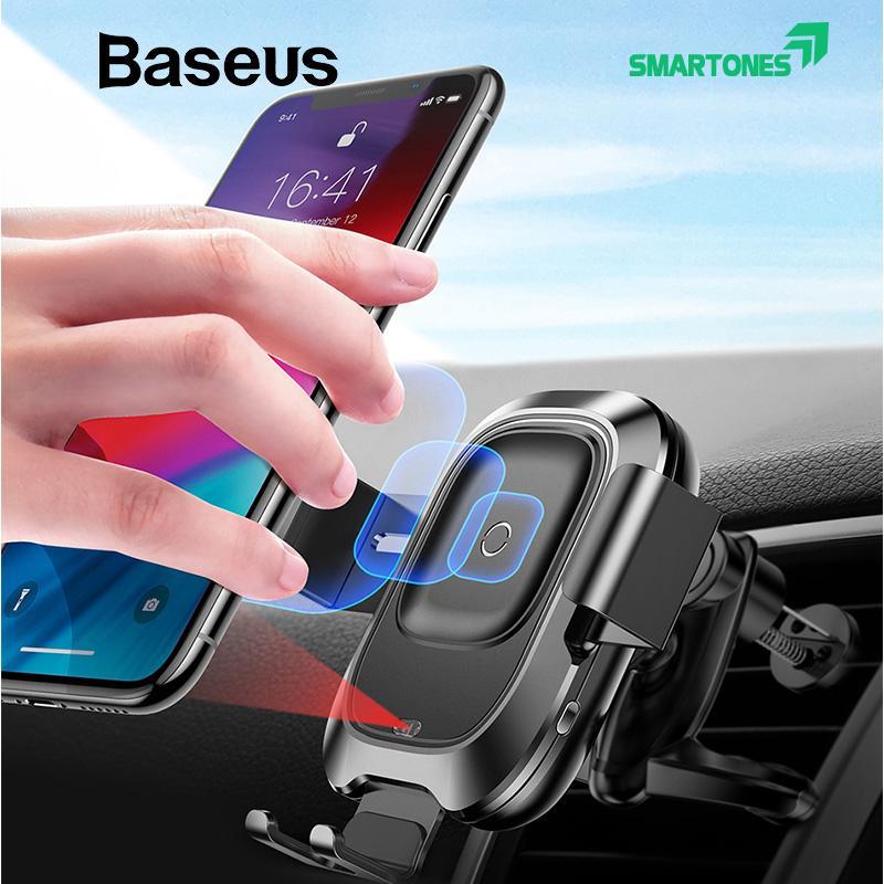 Giá kẹp điện thoại trên ô tô Baseus tích hợp sạc không dây chuẩn Qi 10W cho iPhone 8/8Plus/X/Xs/Xs Max, Samsung Galaxy S8/S9, Note 8/9