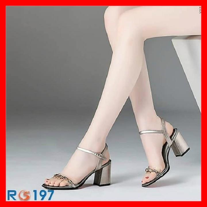 Giày sandal nữ cao gót đế cao 6 phân màu xám xanh hàng hiêu rosata ro197