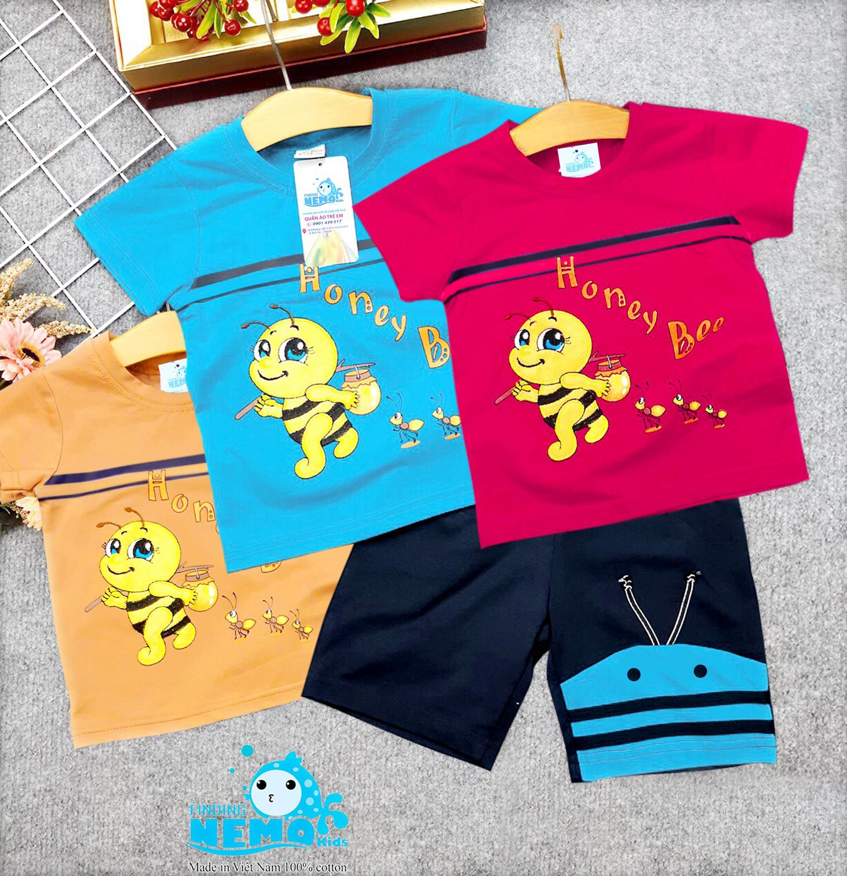 (GIÁ TẬN XƯỞNG) COMBO 3 bộ đồ quần áo trẻ em có 3 màu khác nhau in hình chú ong dễ thương cho bé trai từ 8kg đến 26kg