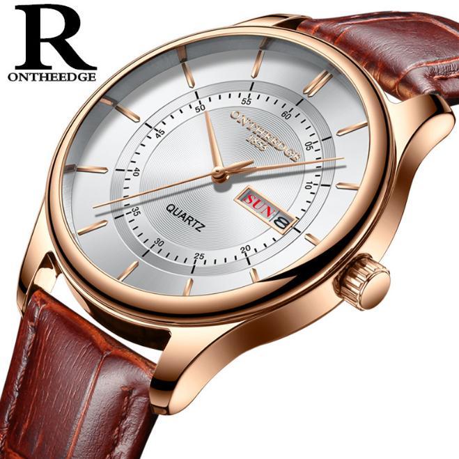 Đồng hồ nam Ontheedge RZY029 dây da thời trang Fullbox chính hãng (Trắng Vàng Nâu)