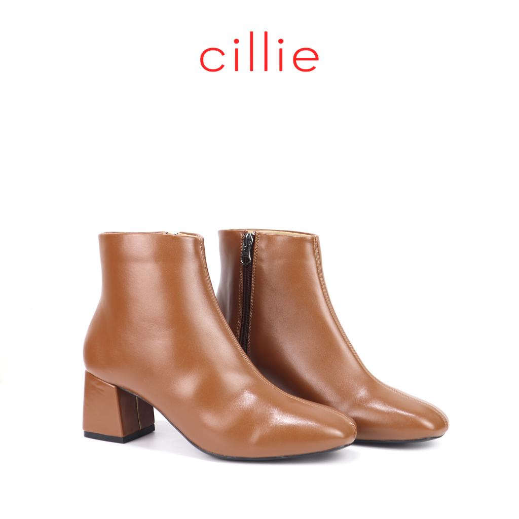 Giày boot nữ cổ thấp mũi vuông cao 5cm Cillie 1081 thumbnail