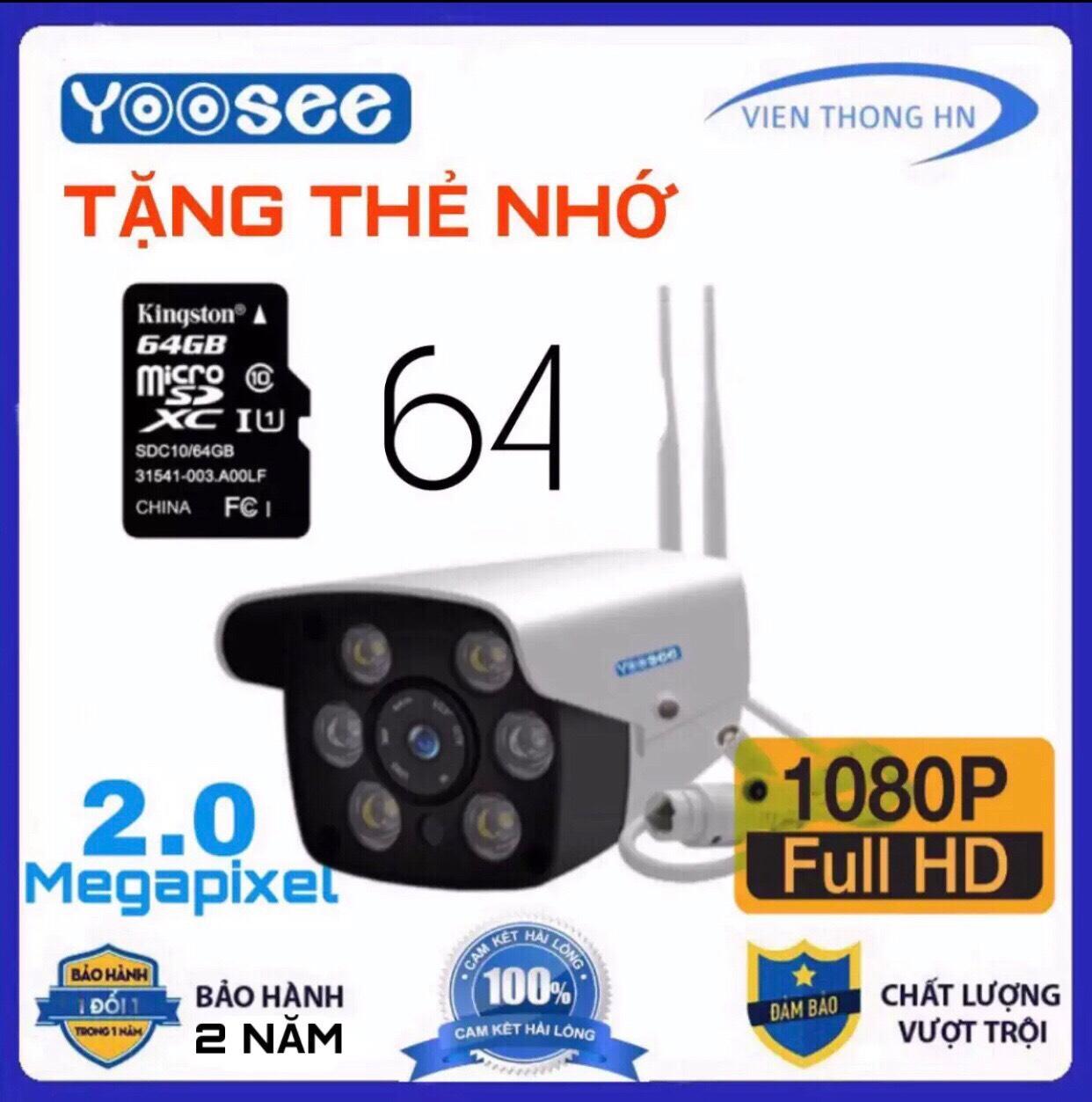 [CÓ MẦU BAN ĐÊM ] LƯU TRỮ 64GB camera wifi 2.0 ngoài trời - trong nhà camera yoosee 2.0 Mpx full hd 1080p - hỗ trợ 2 đèn hồng ngoại và 4 đèn LED + kèm thẻ nhớ 64 - NEW