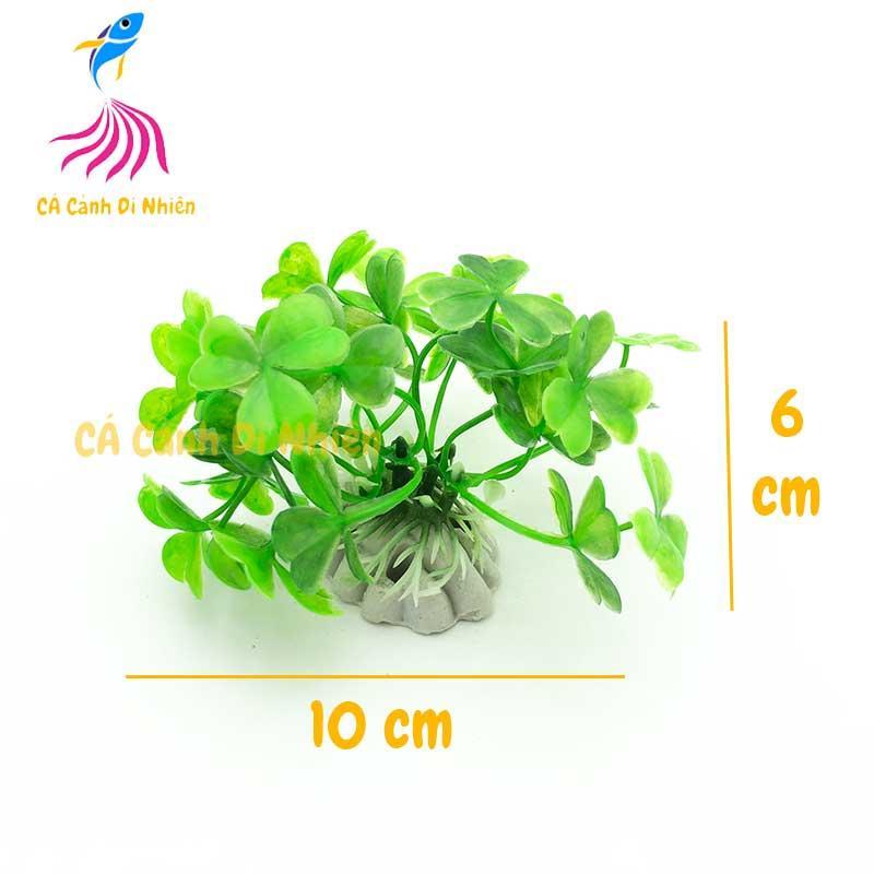 Mô hình cây rong cỏ 3 lá bằng nhựa trang trí hồ cá cảnh Size 6 cm